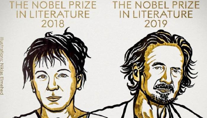 ಓಲ್ಗಾ ಟೋಕಾರ್ಜುಕ್, ಪೀಟರ್ ಹ್ಯಾಂಡ್ಕೆ ಗೆ ಸಾಹಿತ್ಯದ ನೊಬೆಲ್ ಪ್ರಶಸ್ತಿ
