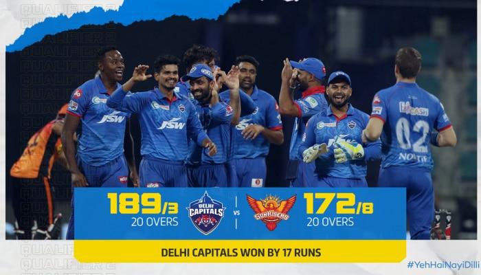 IPL 2020: ಹೈದರಾಬಾದ್ ಸೋಲಿಸಿ ಫೈನಲ್ ಗೆ ಲಗ್ಗೆಯಿಟ್ಟ ಡೆಲ್ಲಿ ಕ್ಯಾಪಿಟಲ್ಸ್