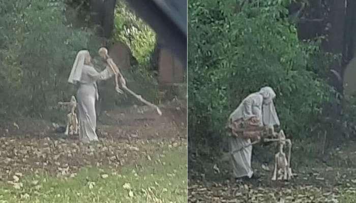 Viral News: ಸ್ಮಶಾನದಲ್ಲಿ ಅಸ್ಥಿಪಂಜರಗಳೊಂದಿಗೆ ಕುಣಿಯುತ್ತಿರುವ ಮಹಿಳೆ..!